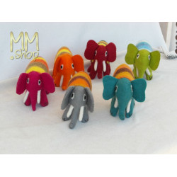 Felt animal multi colour Elephant