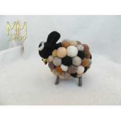 Felt animal model Sheep Polkadot beige brown