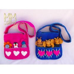 Felt children's shoulder bag with fingerpuppets
