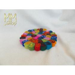 Felt Coaster Spiral Multi Colour