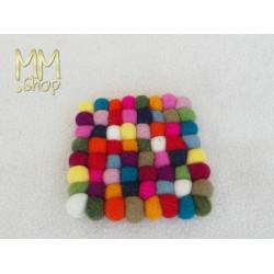 Felt Coaster Multi Colour Polkadot square (small)