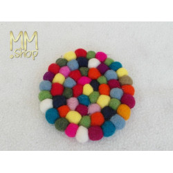 Felt Coaster Multi Colour Polkadot