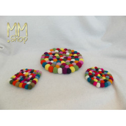 Felt Coaster Multi Colour Polkadot (small,round)