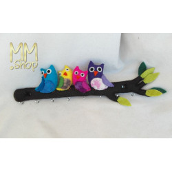 Coatrack owls on a branch multi colour