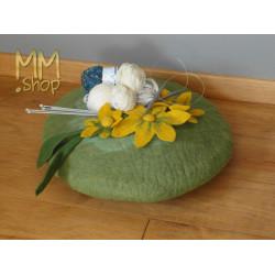 Felt storage basket flower green