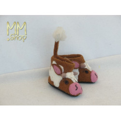 Felt slipper model cow brown