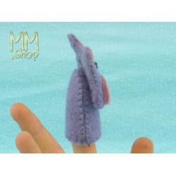 Felt fingerpuppet model Hippopotamus