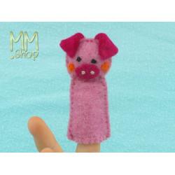 Felt fingerpuppet model Piglet