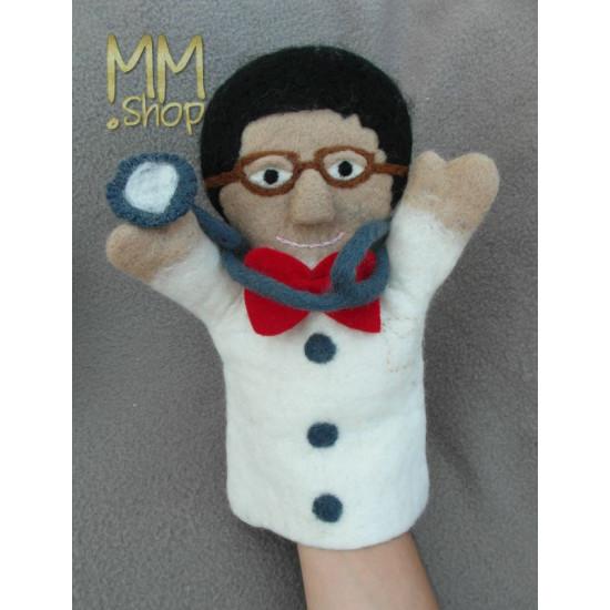 Felt handpuppet model Doctor Frank