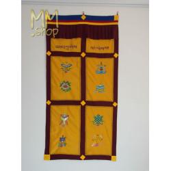 Tibetan door curtain 8 lucky symbols yellow