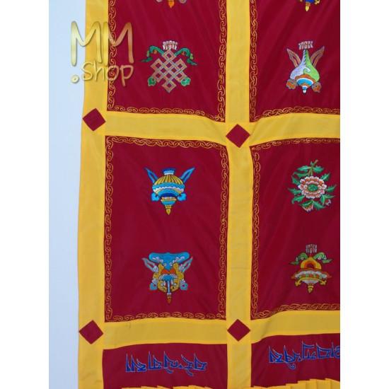 Tibetan door curtain 8 lucky symbols red