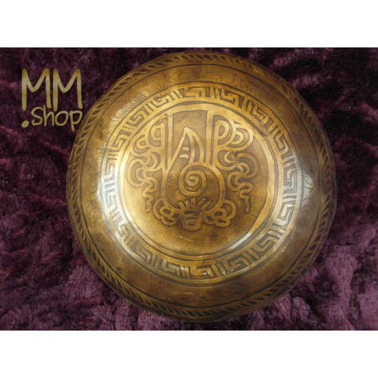 engraved singing bowl Om Mani Padme Hum 16 cm