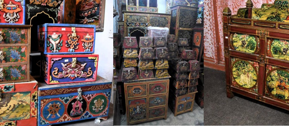 Wooden cupboards from Nepal